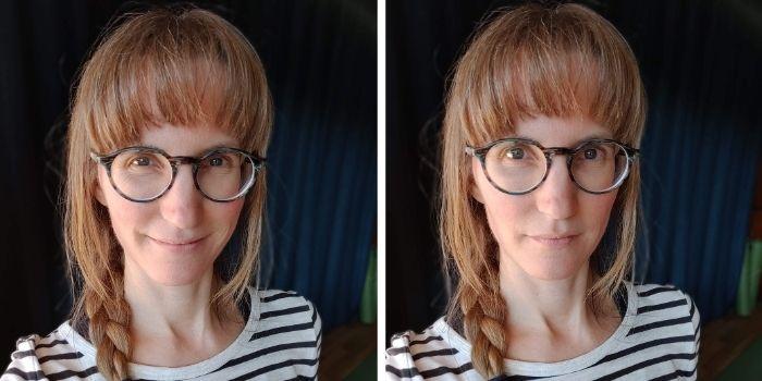 2 bilder på Anna - en där hon ser glad ut och en där hon ser allvarlig ut. Håret är uppsatt i fläta på bägge bilderna och flätan ligger över axeln.
